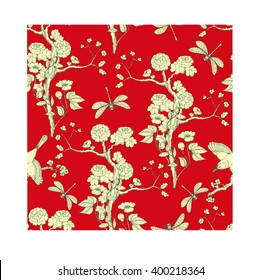 Seamless pattern in the chinoiserie style with peonies, dragonfly and bird on red background for wedding, scrapbooking, wallpaper and other design.