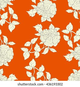 Seamless pattern in the chinoiserie style with peonies, on orange  background for wedding, scrapbooking, wallpaper and other design.  Chinese Peony.