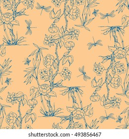 Seamless pattern in the chinoiserie style with peonies, dragonfly and bird for wedding, scrapbooking, wallpaper and other design.