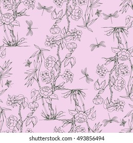 Seamless pattern in the chinoiserie style with peonies, dragonfly and bird on pink background for wedding, scrapbooking, wallpaper and other design.