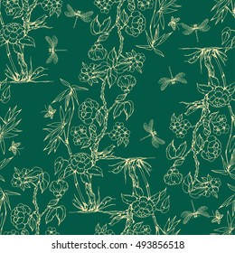 Seamless pattern in the chinoiserie style with peonies, dragonfly and bird on green background for wedding, scrapbooking, wallpaper and other design.