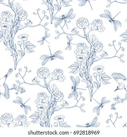 Seamless pattern in the chinoiserie style with peonies, dragonfly and bird on white background for wedding, scrapbooking, wallpaper and other design.