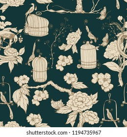 Seamless pattern in chinoiserie style. Vector hand drawing illustration. Chinese  wallpaper. Green background.