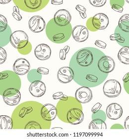 Seamless pattern with chlorella: chlorella seaweed, powder and tablet. Unicellular green algae. Edible seaweed. Vector hand drawn illustration.