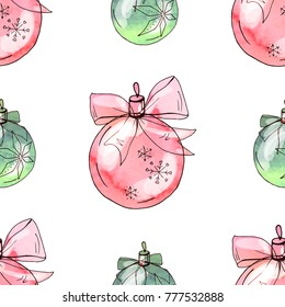 Seamless pattern with christmas balls. Endless texture for festive design and holiday decoration. Watercolor effect, vector.