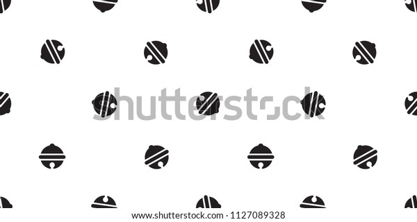 Seamless pattern with christmas bells vector ring bell icon Happy new year tile background repeat wallpaper scarf isolated illustration