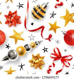 Nahtloses Muster mit Weihnachtsdekor - Bänder, Bälle, Sterne und andere festliche Elemente auf weißem Hintergrund.