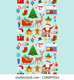 Seamless pattern with Christmas decoration on blue background