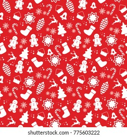 Seamless pattern with Christmas elements isolated on a white background. Vector illustration.
