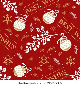 Seamless pattern with Christmas elements. Vector illustration.