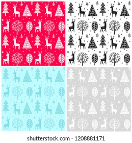 Seamless pattern Christmas forest and deers