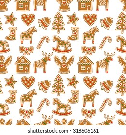 Seamless pattern with Christmas gingerbread cookies - Xmas tree, candy cane, angel, bell, sock, gingerbread men, star, heart, deer, rocking horse.Winter holiday vector Xmas design on white background.