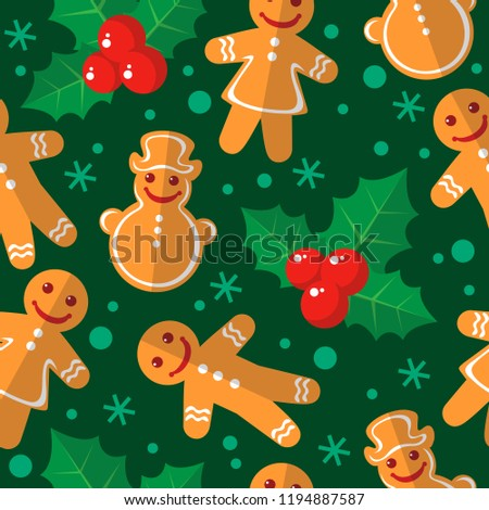 Seamless Pattern Christmas Gingerbread Cookies Holly Stock Vector