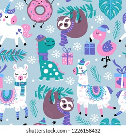 Seamless pattern for Christmas holiday with animals. Childish background for fabric, wrapping paper, textile, wallpaper and apparel. Vector Illustration