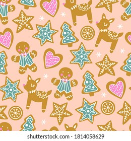 Seamless pattern for Christmas holiday with cute gingerbread cookies. Childish background for fabric, wrapping paper, textile, wallpaper and greeting cards. Vector Illustration