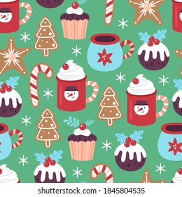 Seamless pattern for Christmas holiday with cute hot chocolate cup and cookies. Childish background for fabric, wrapping paper, textile, wallpaper and greeting cards. Vector Illustration
