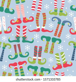 Seamless pattern for Christmas holiday with elf feet in socks and shoes. Childish background for fabric, wrapping paper, textile, wallpaper and apparel. Vector Illustration