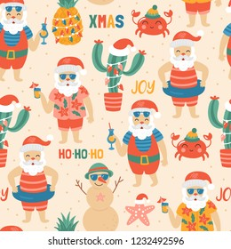 Seamless pattern for Christmas holiday with Santa Claus on sea beach. Childish background for fabric, wrapping paper, textile, wallpaper and apparel. Vector Illustration