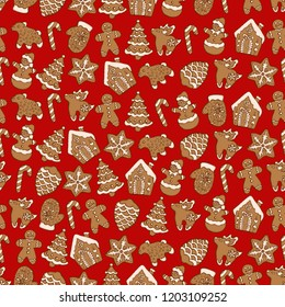 Seamless pattern of christmas homemade gingerbread cookies on red background. Christmas tree, snowflake, deer and snowman. Vector illustration for menu design, cafe decoration, delivery box.