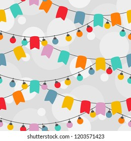 Seamless pattern of Christmas lights. Garland lights and flags on holiday. Hand Drawn Garlands, Party Banners and decor elements.