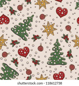 Seamless pattern Christmas and New Year theme with fir tree, mistletoe, gold stars and decorative balls