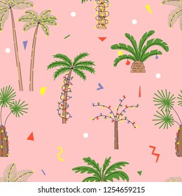 Seamless pattern with Christmas palm trees