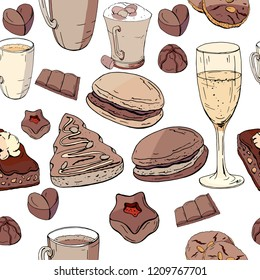 Seamless pattern with christmas pastry. Endless texture for festive design, restaurant and cafe menu, decoration.