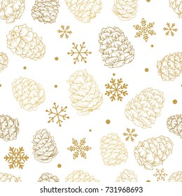 Seamless pattern Christmas pine cones and snowflakes. New year and Xmas hand drawn vector illustration for your design on white background.