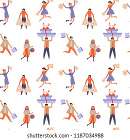 Seamless pattern for Christmas sale packaging. People running after shopping. Vector illustration eps 10