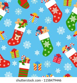 Seamless pattern Christmas socks with gifts on a blue background