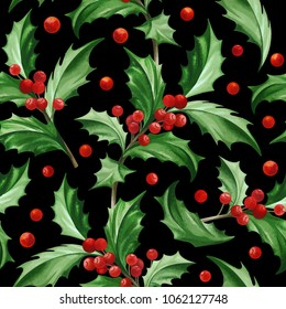 Seamless Pattern with Christmas Symbol - Holly Leaves on Black Background.