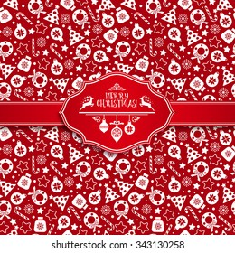 Seamless pattern of christmas texture icons on red background.
