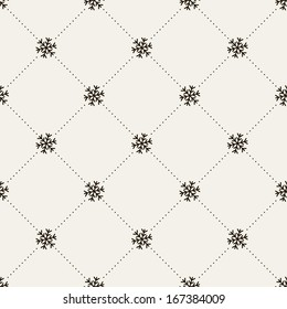 Seamless pattern. Christmas texture with snowflake and dotted rhombuses. Holiday background