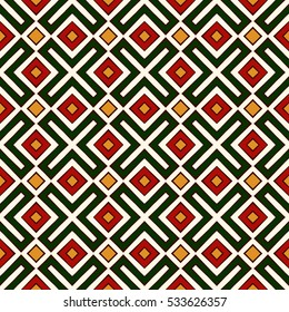 Seamless pattern in Christmas traditional colors. Ethnic and tribal motif. Repeated geometric forms bright ornamental abstract background. Digital paper, textile print, page fill. Vector illustration