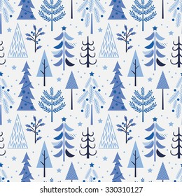 Seamless pattern with Christmas tree in blue color. Vector illustration