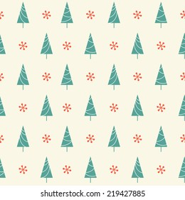 Seamless pattern with Christmas tree and snowflake for winter holidays design