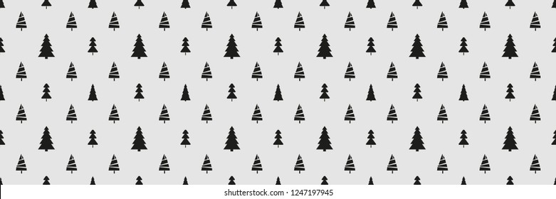 Seamless pattern with christmas trees. Abstract geometric wallpaper. Print for textile, flyer or poster. Artwork for design. Black and white illustration