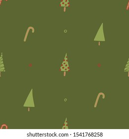 A seamless pattern with Christmas trees and Christmas lollipops. Can be used as gift wrapping