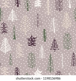 Seamless pattern Christmas trees pattern repeat tile. Purple, green, brown, white doodle trees and snowflakes. Scandinavian Christmas background. Fabric, paper, gift wrap, card, web banner, invitation