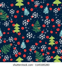 Seamless pattern with Christmas trees and snowflakes