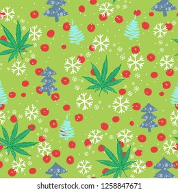 Seamless pattern with Christmas trees, snowflakes and cannabis leaves