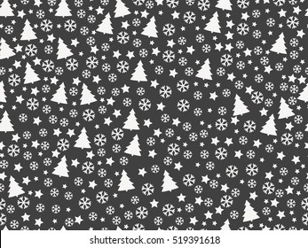 Seamless pattern with Christmas trees and snowflakes. Christmas pattern. Vector illustration.