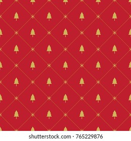 Seamless pattern with Christmas trees,snow flakes