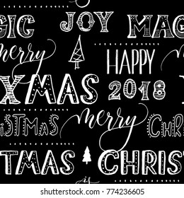 Seamless pattern the  christmas words hand lettering on a black background vector.