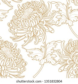 Seamless pattern with a Chrysanthemum Flowers natural ornament. Tropical vintage Chrysanthemum Flowers floral seamless pattern white background. Exotic jungle wallpaper.