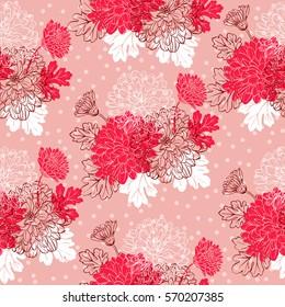 Seamless pattern with chrysanthemum flowers. Vector illustration