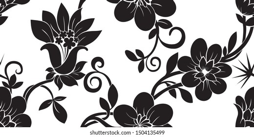Seamless pattern Chrysanthemums,japanese floral pattern with bellflower and leaves on white background for wallpapers,textile,pabric and wrapping