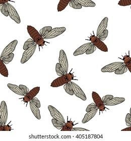 Seamless pattern with cicada . Cicadidae. Chremistica umbrosa.     hand-drawn cicada . Vector illustration