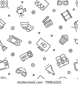 Seamless pattern with cinema and television, black and white icons