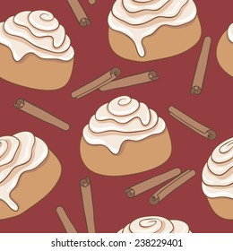 Seamless pattern with cinnamon rolls and sticks of cinnamon. Freshly baked sweet pastry with frosting and spice. Vector illustration. Eps, added to swatches.